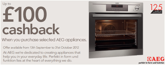 AEG Cashback Promotion - Up To £100