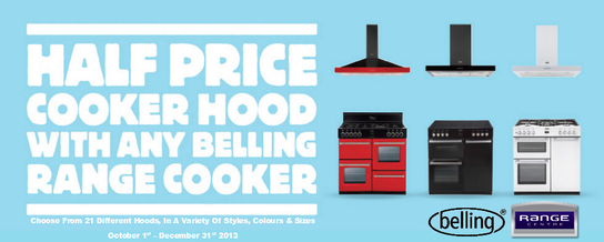 Belling Range Cooker Promotion - Half Price Cooker Hood!