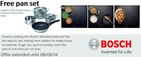 Bosch Induction Hobs Promotion - Free Designer Saucepan Set!