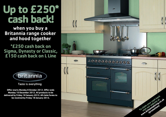 Britannia Range Cookers Promotion - Up To £250 Cashback!