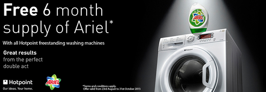 Hotpoint Washing Machine Promotion - 6 Months Free Ariel