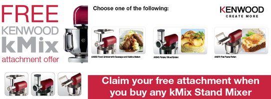 Kenwood kMix Stand Mixer Promotion - Free Attachment