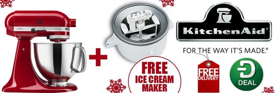 KitchenAid Artisan Mixer Christmas Promotion - Free Ice Cream Maker!