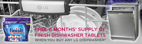 LG Dishwasher Promotion - 6 Months Free Finish Tablets!