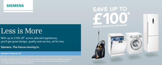 Siemens Home Appliances - Up To £100 Off!