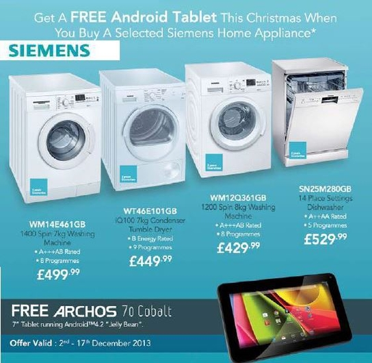 Siemens Kitchen Appliances - Free Archos Tablet!