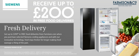 Siemens Kitchen Appliances - Up To £200 Of Free Gourmet Food!