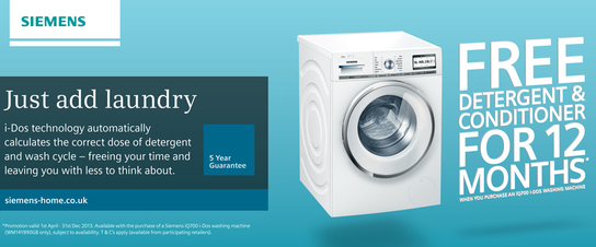 Siemens iDos Washing Machine Promotion - 12 Months Free Detergent & Conditioner!