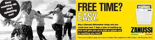 Zanussi Dishwasher Promotion - Up To £50 Cashback!