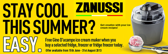 Zanussi Summer Promotion - Free Gino D'acampo Ice Cream Maker!